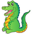 cartoon standing crocodile vector image vector image