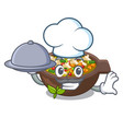 chef with food fried minestrone in cup vector image vector image