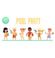 children pool party banner with cute kids flat vector image vector image