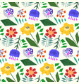 cute simple pattern with doodle color flowers vector image vector image