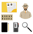 Detective icon set vector image