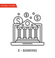 e-banking icon thin line vector image vector image