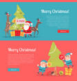 elves in santa suit and deer helper decorate tree vector image vector image