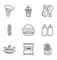 fast food icons set outline style vector image vector image