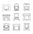Flat icons fireplace stoves isolated on white vector image