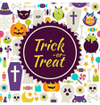 Flat Trick or Treat Halloween Background vector image vector image