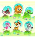 Funny wild animals with background vector image vector image