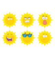 funny yellow sun character collection - 2 vector image vector image