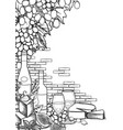 graphic wine glasses and bottles decorated vector image vector image
