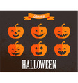 Halloween cute set of pumpkin icons vector image