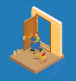 isometric interior repairs concept builder fixe vector image