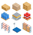 isometric set of storage equipment isometric icons vector image