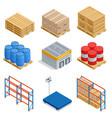 isometric set storage equipment isometric icons vector image