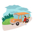 kid catching public transport bus to get to school vector image