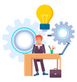 man working in office new idea solution finding vector image vector image