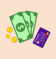 money with the bank card color flat icon vector image vector image
