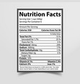 nutrition facts piece paper vector image