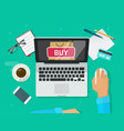 online shopping concept flat style laptop vector image vector image