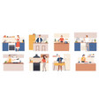 people cooking at home men and women preparing vector image