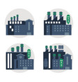 plant set blue building chimney factory icon vector image
