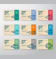 premium quality fish labels collection abstract vector image vector image