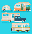 retro camper trailer collectionset of recolored vector image vector image