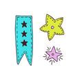 Ribbon and stars decoration hand drawn
