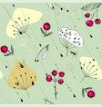 rowan seeds insects and grass flying under the vector image vector image
