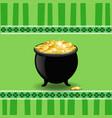 saint patricks day card of pot with leprechauns vector image