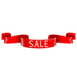 sale red banner shiny silk 3d ribbon vector image vector image