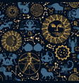 seamless pattern with sun crescent zodiac signs vector image