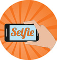 Selfie concept Flat design Icon in orange circle vector image vector image