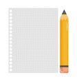 sheet notebook paper with pencil vector image vector image