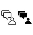 user and dialogue bubble line and glyph icon vector image vector image