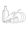 vegetables and food in black and white vector image vector image