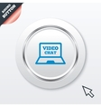 Video chat laptop sign icon Web communication vector image