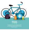 white background with elements sport healthy vector image vector image