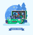 winter travel suitcase fully stuffed vector image vector image