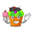 with ice cream ice cream sundae cupcakes on vector image
