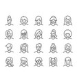 woman avatar line icon set vector image vector image