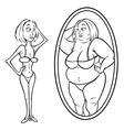 woman mirror anorexia vector image vector image