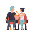 young couple in love watching movie in cinema vector image vector image