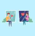 young people communicate correspondence on phone vector image vector image