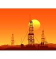 Oil and gas rigs over orange desert sunset vector image