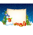 snowman with empty blank on horizontal background vector image