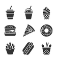 Fast food silhouette icon set vector image