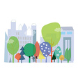City and nature ecology - concept with flo vector image