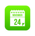 24 november calendar icon digital green vector image vector image
