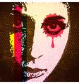 60s style digital pop art portrait Young female vector image