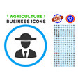 agronomist chief rounded icon with set vector image vector image